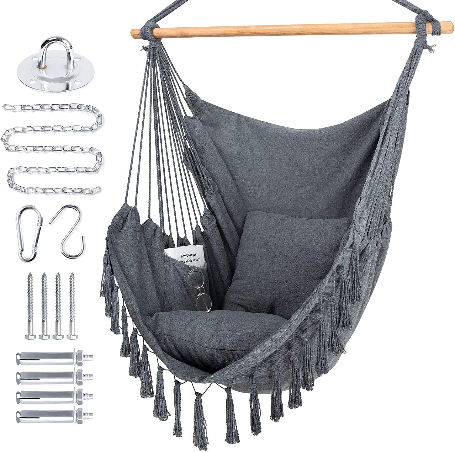 WBHome safety Extra Large Ranking TOP20 Hammock Chair Swing with Hardware Kit Hangin