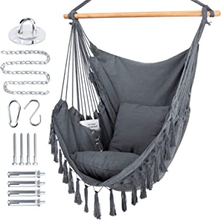 WBHome Extra Large Hammock Chair Swing with Hardware Kit, Hanging Macrame Chair Cotton Canvas, Include Carry Bag & Two Sof...