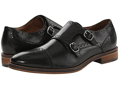 Johnston & Murphy Conard Casual Dress Double Monk Strap (Black Calfskin) Men