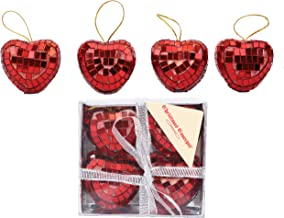 Christmas Concepts® Pack of 4-40mm Heart Mirror Baubles - Red - Christmas Tree Decorations