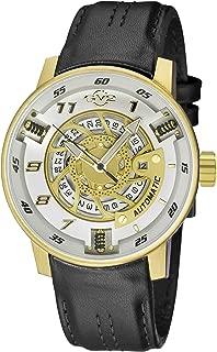 Men's Motorcycle Spoprt Gold Tone Swiss Automatic Watch with Leather Calfskin Strap, Black, 24 (Model: 1306)