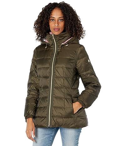 Kate Spade New York Mid Weight Short Down Puffer Jacket (Deep Moss/Dried Rose) Women