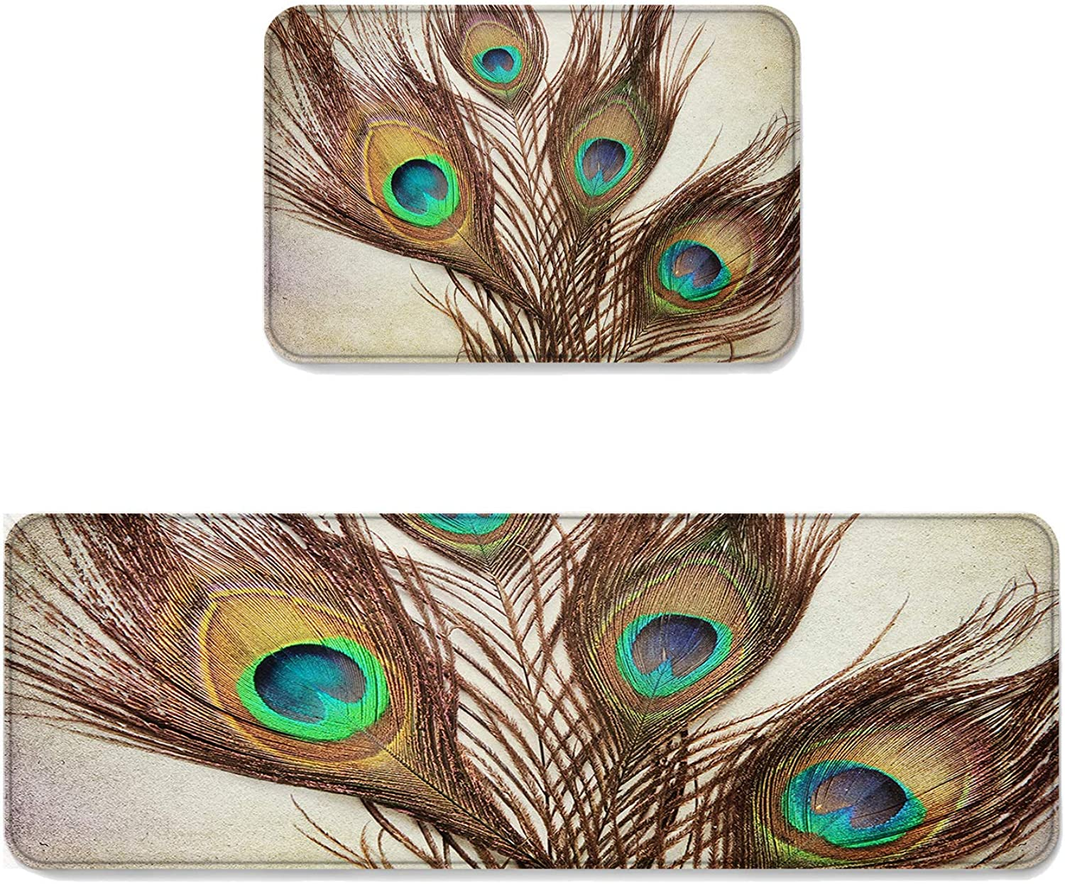 Fantasy Star Kitchen Rug Sets 2 Piece Floor Mats Non-Slip Rubber Backing Area Rugs Peacock Feather Doormat Washable Carpet Inside Door Mat Pad Sets (19.7  x 31.5 +19.7  x 63 )