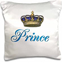 3dRose Prince-Royal Blue Cursive Script Text with Fancy Majestic Crown Potential Part of Fun Couple Gift-Pillow Case, 16-inch (pc_112874_1)