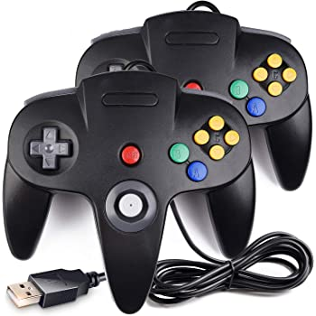 2 Pack Classic N64 Controller, iNNEXT N64 Wired USB PC Game pad Joystick, N64 Bit USB Wired Game Stick Joy pad Controller for Windows PC MAC Linux Raspberry Pi 3 Genesis Higan