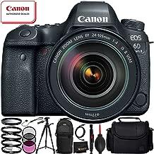 Canon EOS 6D Mark II with EF 24-105mm f/4L is II USM Lens - 12PC Accessory Bundle Includes 3 Piece Filter Kit (UV, CPL, FLD) + 4 Piece Macro Filter Set (+1, 2, 4, 10) + Lens Cap Keeper + More