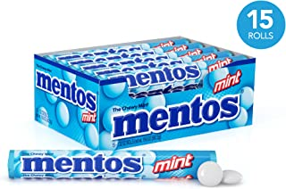 Mentos Chewy Mint Candy Roll, Mint, Halloween Candy, Bulk, Party, Non Melting, 1.32 Ounce/14 Pieces (Pack of 15) - Packaging May Vary