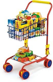 Bayer Design 75002AA leksak shoppingvagn, integrerad dockstol, köpetillbehör, färgglad/innehåll