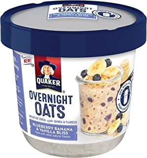 Quaker Overnight Oats, Blueberry Banana & Vanilla Bliss, Breakfast Cereal, 12 Count