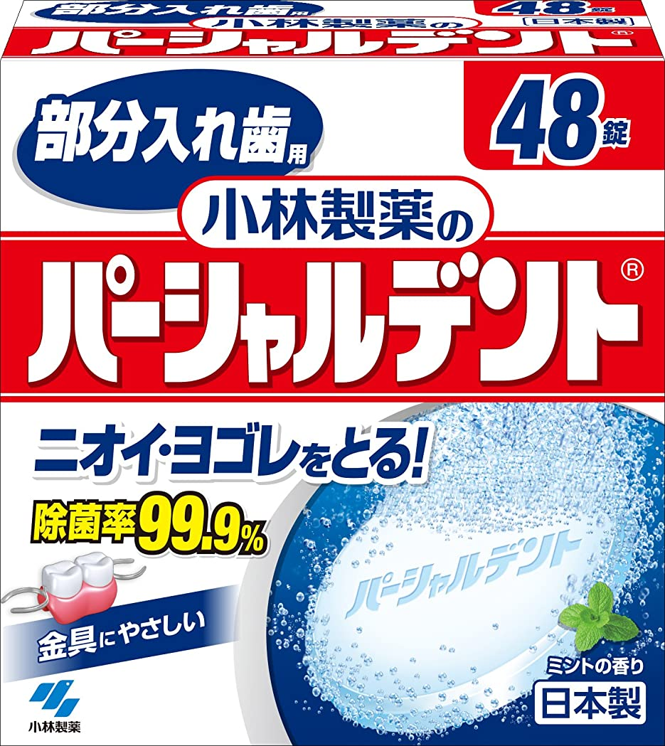 氷診断する不正直小林製薬のパーシャルデント 部分入れ歯用 洗浄剤 ミントの香 48錠