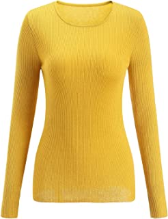 SSeary Women Crewneck Basic Lightweight Cozy Cashmere Knit Pullover Sweater(Yellow L)