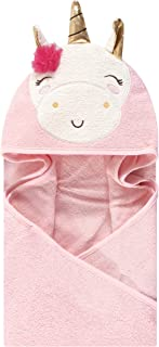 Luvable Friends Animal Face Hooded Towel, Pink Unicorn, One Size