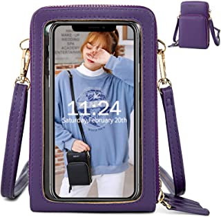 Handy Umhängetasche Damen, Touchscreen Tasche Kleine Crossbody Schultertasche Brieftasche Handtasche, 3 Reißverschluss Beu...