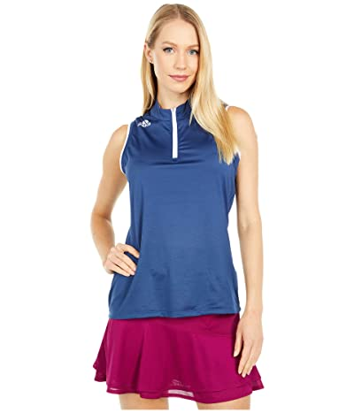 adidas Golf Gradient Zip Sleeveless Polo Shirt (Tech Indigo) Women
