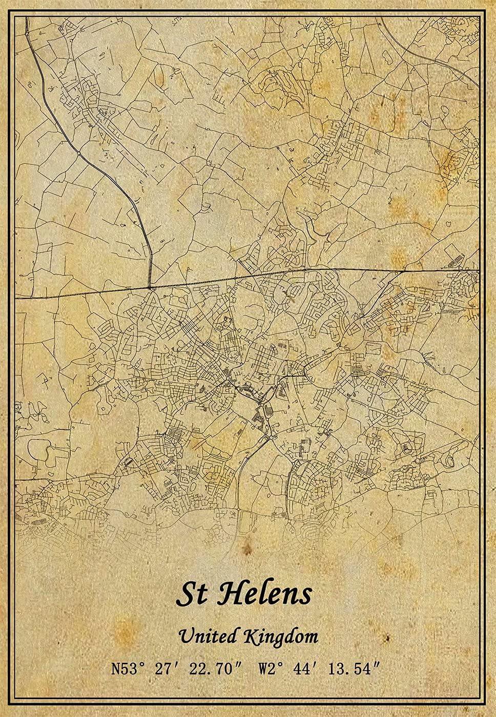 Póster de mapa de Santa Elena del Reino Unido con impresión en lienzo de estilo vintage sin marco, decoración de regalo 30,5 x 40,6 cm