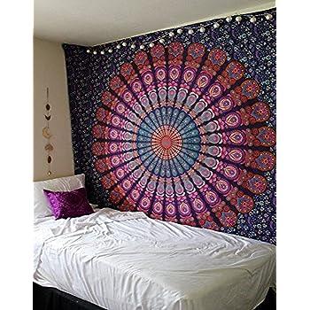 Raajsee Mandala - Tapiz de algodón indio (220 x 210 cm), multicolor: Amazon.es: Hogar