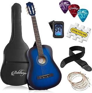Ashthorpe 38-inch Beginner Acoustic Guitar Package (Blue), Kids Basic Starter Kit w/Gig Bag, Strings, Strap, Tuner, Pitch ...