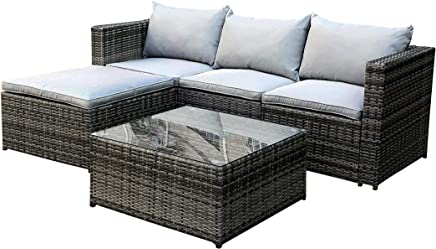398aae2b4457 CosmoLiving Outdoor Rattan Garden Furniture Set Grey Malaga Conservatory Patio  Sofa coffee table