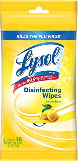 Lysol Disinfecting Wipes, On the Go Travel Size, Lemon Scent, 6 Pack Value Size