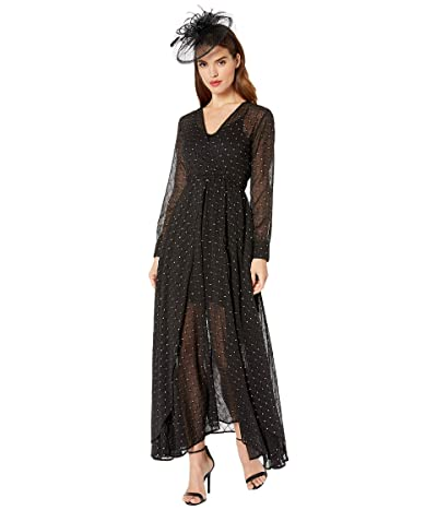 Unique Vintage Long Sleeve Farrah Maxi Dress (Black/Silver) Women