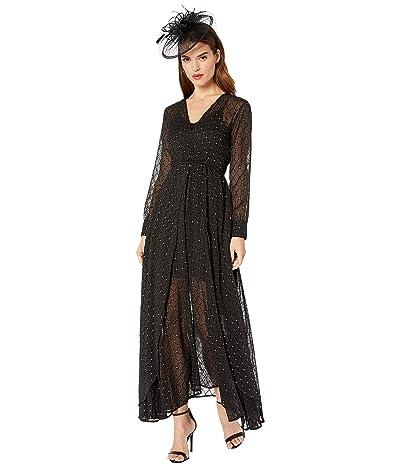 Unique Vintage Long Sleeve Farrah Maxi Dress (Black/Silver) Women