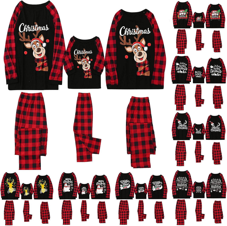 Christmas Pajamas for Family Matching Set Xmas Long Sleeve Red Plaid Loungewear Sleepwear Pjs Tee Tops and Pants
