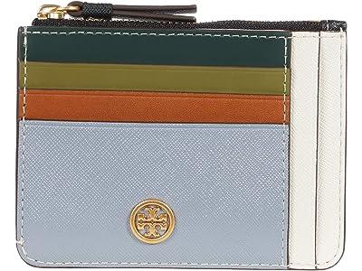 Tory Burch Robinson Color-Block Multi Card Case (Cloud Blue/New Ivory) Handbags
