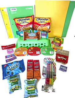 Back to School - College Essential Supplies Kit - College Snack Supply Basket College Ruled Paper - 29 Piece Basket Care Package - College Gifts for Girls and Guys