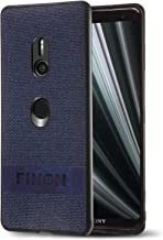 FINON Design Cotton Model [ PC/TPU/Cotton ] for Sony Xperia XZ3 Case - Fingerprint Prevention Function and Simple Hybrid case, Cotton Design, Shock Resistance, Lightweight - Navy