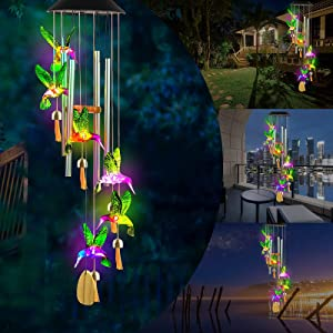 AMMON Wind Chimes - LED Solar Hummingbird Wind Chime for Outside - Color Changing Solar Green Hummingbird Windchimes with 4 Aluminum Tubes Memorial Gifts for Mom Grandma Decoration for Garden Patio