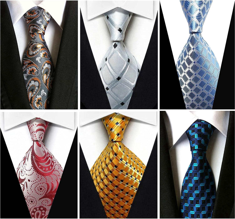 Wehug Lot 6 PCS Men's Ties Silk Tie Woven Necktie Jacquard Neck Ties Classic Ties For Men style020