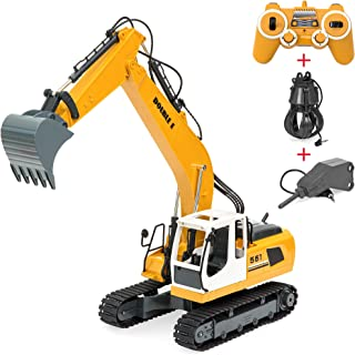 Best Choice Products 1/16 Scale Rechargeable 17-Channel RC Excavator w/ Shovel and Drill, Yellow