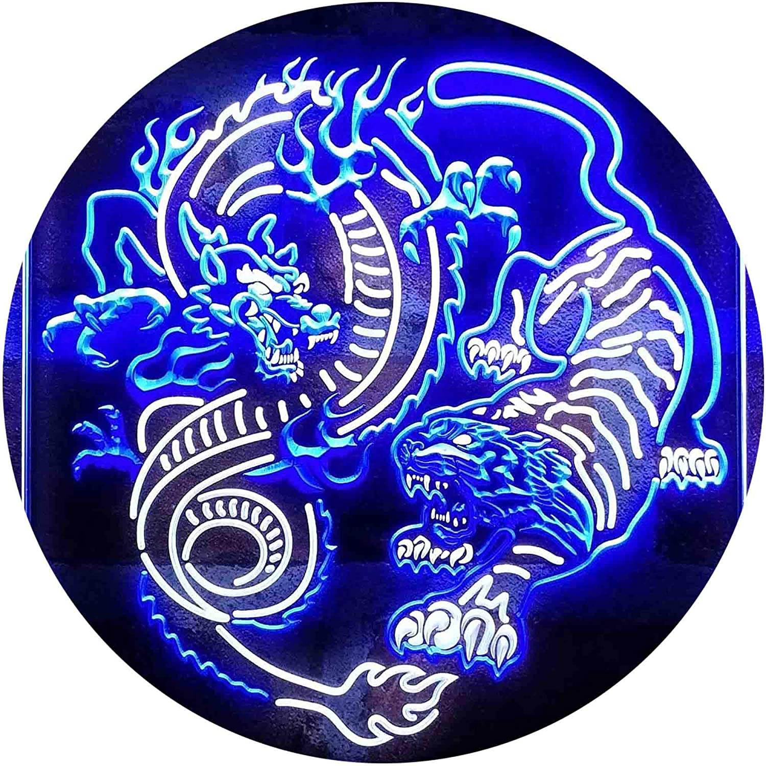 Cheap mail order shopping Outlet SALE ADVPRO Dragon and Tiger Fighting Tattoo Neon Color Art LED Dual