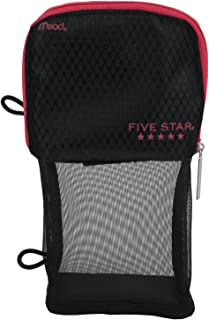 Five Star Pencil Pouch, Pen Case, Fits 3 Ring Binder, Stand 'N Store, Black/Red (50516CE8)