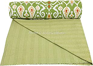 Stylo Culture Cotton Kantha Throw Quilt Twin Size Bedspread Bed Cover Parrot Green Ikat Print Hand Stitched Embroidered Traditional Quilt Coverlet 228x152 cm