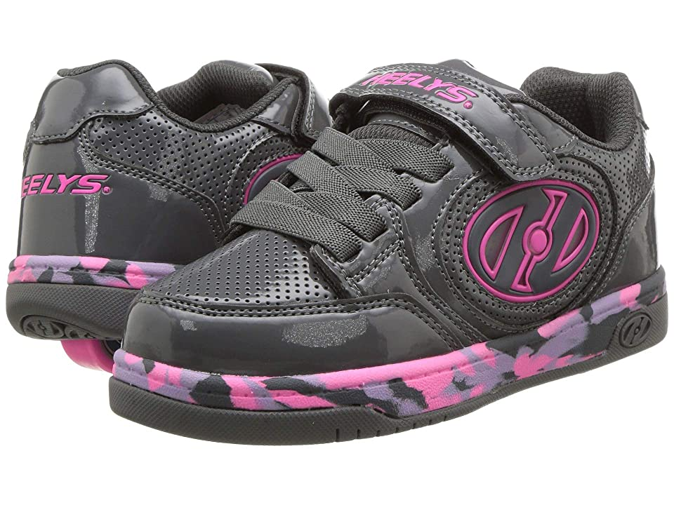 Heelys Plus X2 Lighted (Little Kid/Big Kid) (Charcoal/Fuchsia/Purple Confetti) Girls Shoes