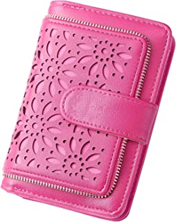 GLADDON Small Wallets for Women Vintage Hollow Bifold Card Holder Rose