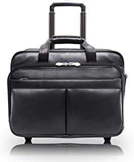 """Mcklein Usa Roosevelt, Top Grain Cowhide Leather, 17"""" Patented Detachable -Wheeled Laptop Briefcase, Black, One Size, 84555"""