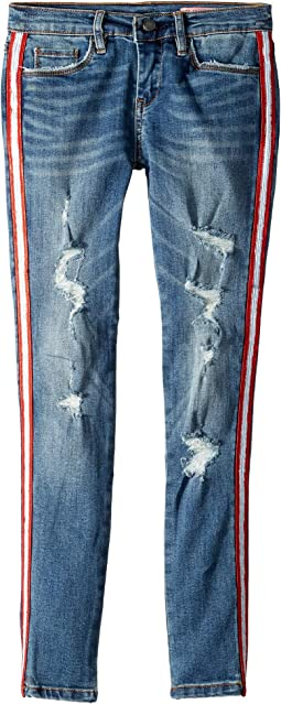 Denim Skinny with Navy Zipper Detail on the Side of Leg in Jersey Girls (Big Kids)