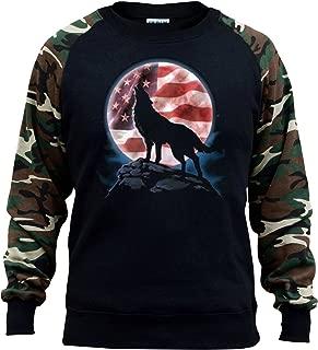 Men's American Moon Howling Wolf Black/Camo Raglan Baseball Sweatshirt Black