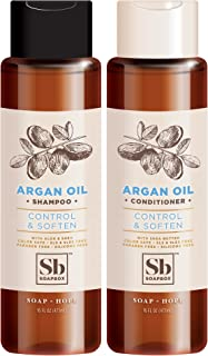Soapbox Shampoo and Conditioner Set with Argan Oil, Jojoba Oil, Aloe and Shea Butter to Soften and Control Hair for All Hair Types, 16 Ounces Each