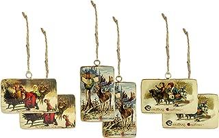 AuldHome Design Set of 6 Vintage Retro Christmas Ornaments (3 Designs, 6 Ornaments Total); Nostalgic Tree Decorations in Metal Frames