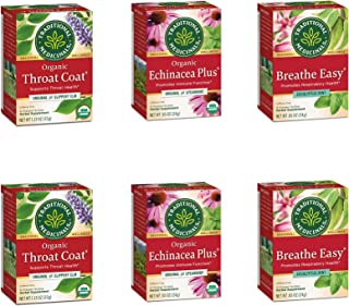 Traditional Medicinals Organic Seasonal Care Variety Pack Teas (Pack of 6), Throat Coat + Echincea Plus + Breathe Easy , 9...