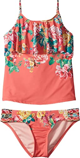 Hobie Kids - Petal Pusher Hanky Tankini and Sash Side Hipster Set (Big Kids)