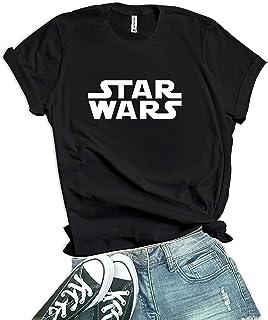 Decrum White Logo Star T Shirt - Black T Shirt for Womens
