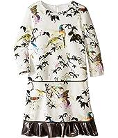 Roberto Cavalli Kids - Bird Print Dress w/ Contrast Ruffle Hem (Big Kids)