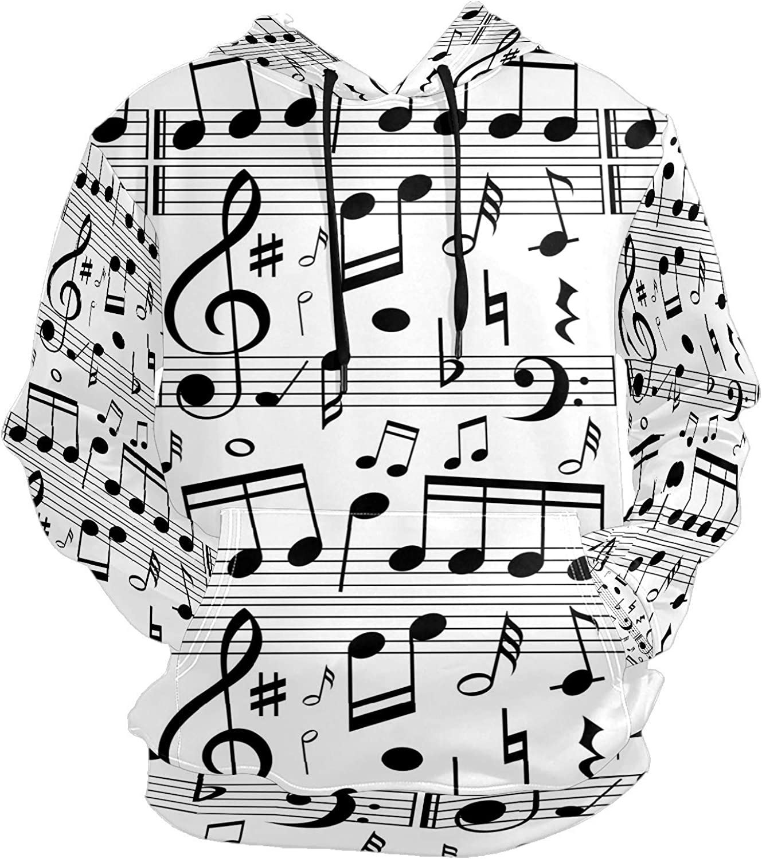 Vintage Music Notes Scales Mens Sport Hoodie Big and Tall Hoodies for Men Women Oversized Hooded Sweatshirt Hip Hop Pullover Hoodie Midweight Hood for Boys Girls