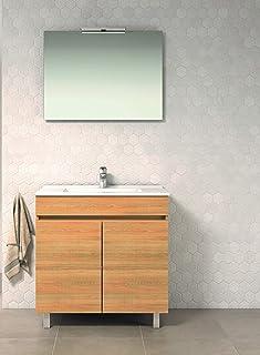 VAROBATH Conjunto Mueble de baño de 2 Puertas con Lavabo de Cerámica y Espejo Liso - Mueble MONTADO- Modelo Luup (80 cms, Hera)