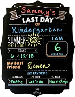Fayfaire Last Day of School Chalkboard – School is Out Milestone Sign for Last Day of School Stats Photo Prop