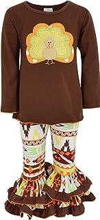 Girls 2 Piece Turkey Fall Colors Aztecan Thanksgiving Legging Set